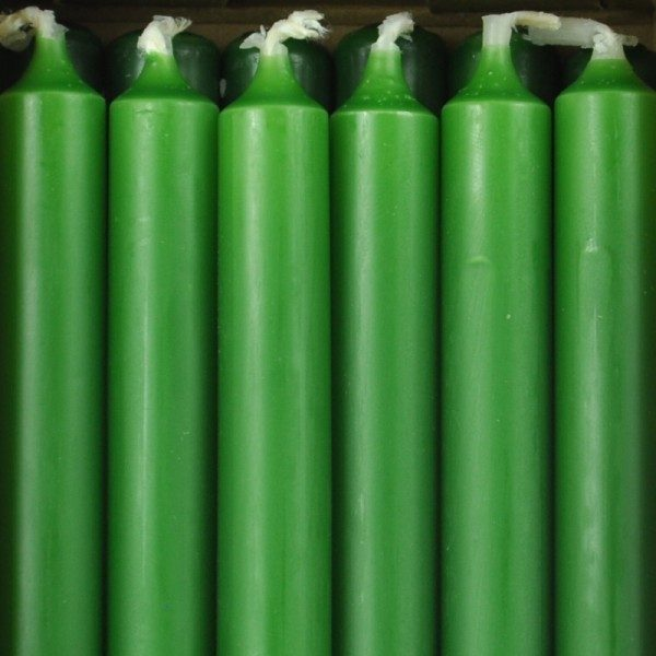 12 bougies vert chasseur pour bougeoirs Nagel