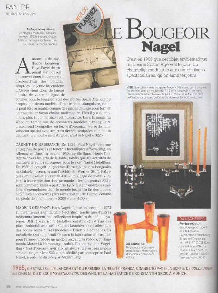 Article bougeoirs Nagel réédités Stoff