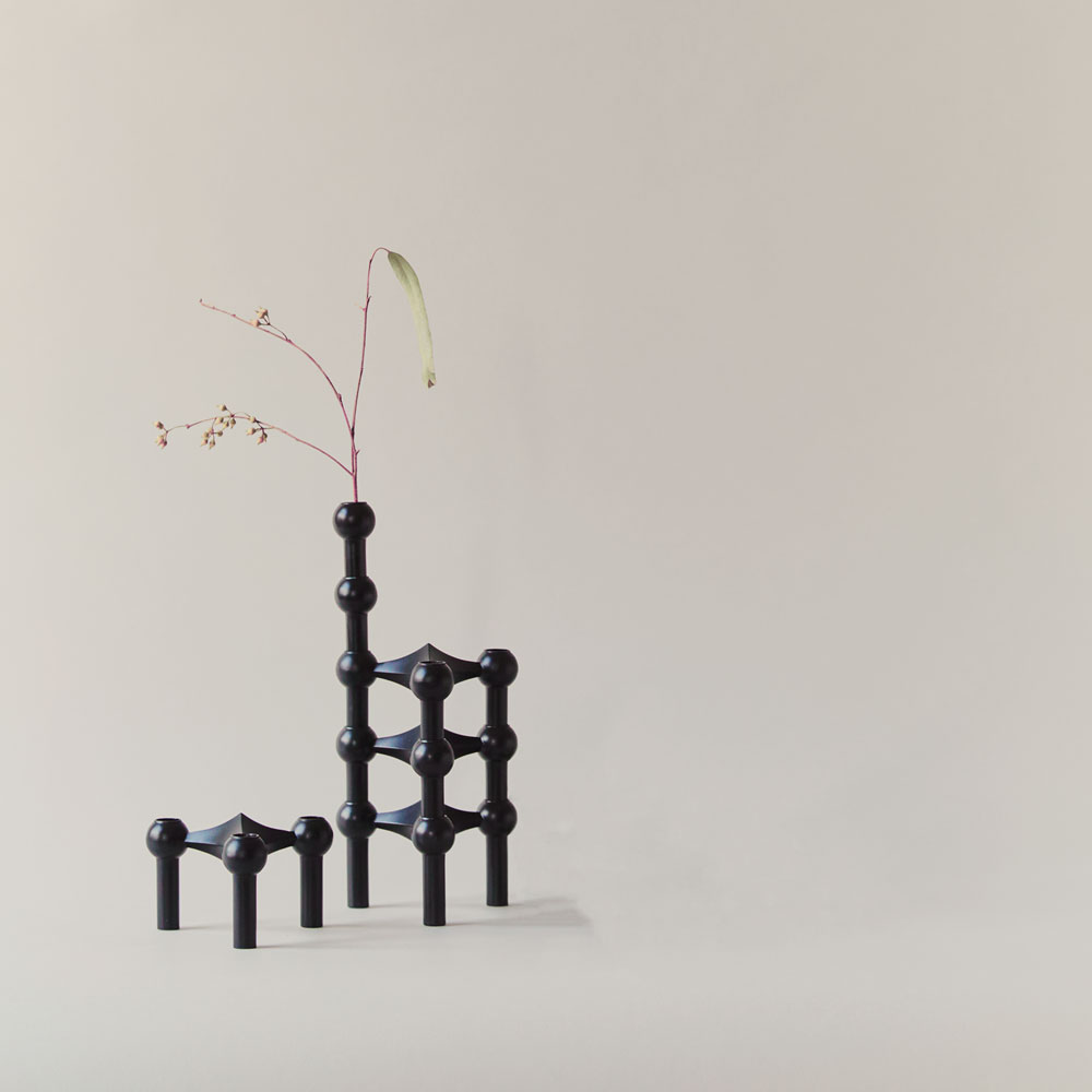 Vase et bougeoirs STOFF noir