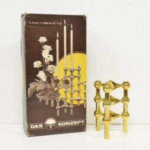 Bougeoirs Nagel dorés avec boîte