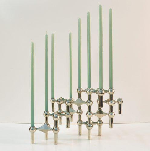 Bougeoirs Nagel et bougies vert d'eau